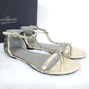 Kenneth Cole Gold Sparkle It Sandals Size 8.5